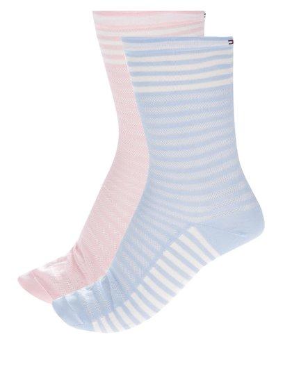 Sada dvou párů dámských ponožek v růžové a modré barvě Tommy Hilfiger Classy varsity