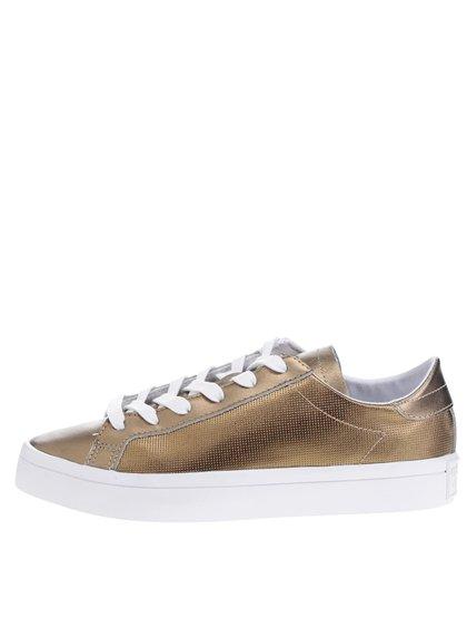 Pantofi sport bronz din piele pentru femei adidas Originals Court Vantage