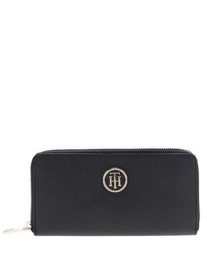 Černá dámská peněženka na zip s aplikací Tommy Hilfiger