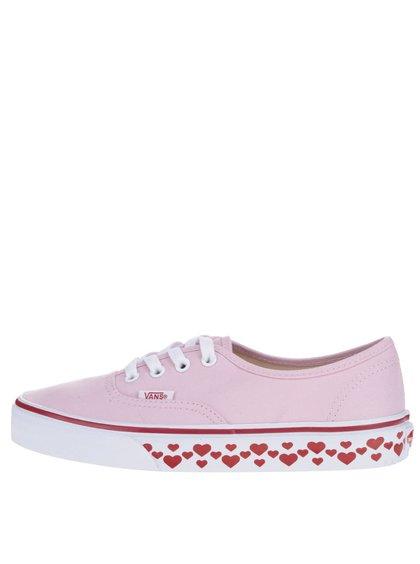 Růžové dámské tenisky s motivem srdíček VANS Authentic