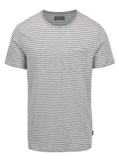 Tricou gri Jack&Jones Berlin cu model în dungi