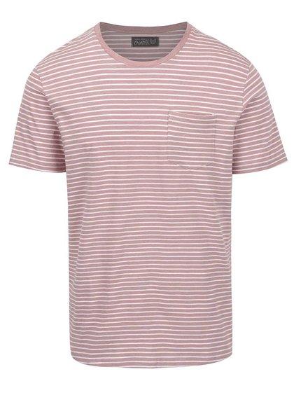 Tricou roz prăfuit Jack&Jones Berlin cu model în dungi