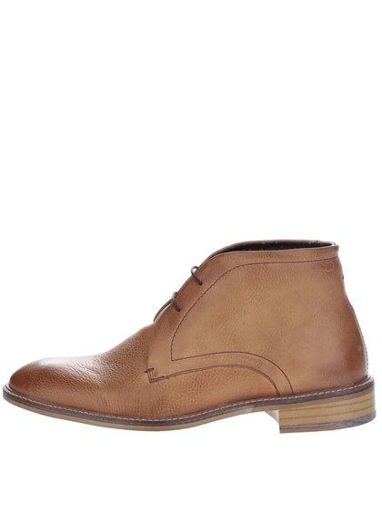 Světle hnědé kožené kotníkové boty London Brogues Wister Chukka