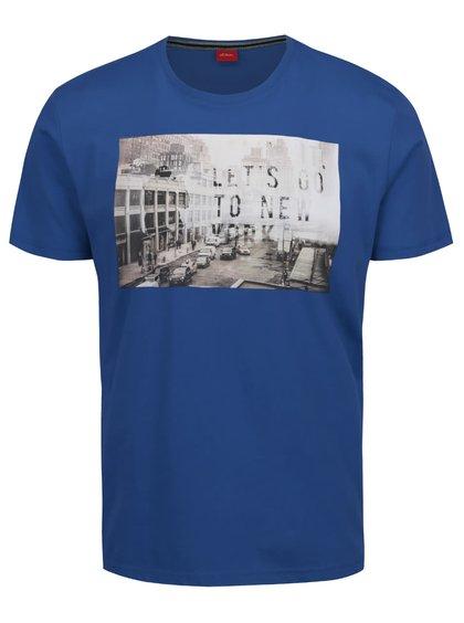 Tricou albastru s.Oliver din bumbac cu print