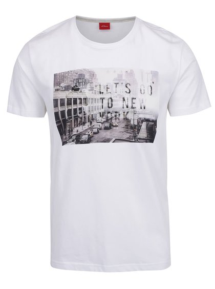Tricou alb s.Oliver din bumbac cu print
