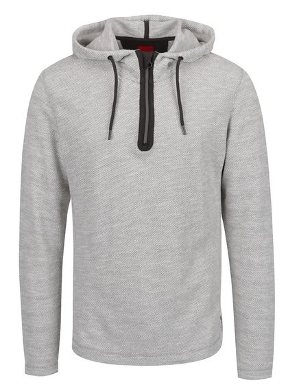 Šedo-bílý pánský svetr s kapucí s.Oliver