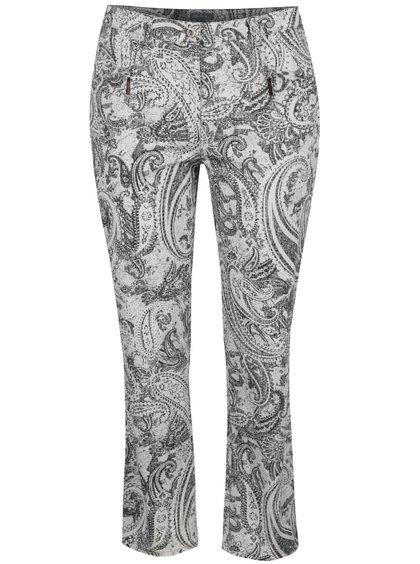 Černo-krémové vzorované rovné kalhoty s kapsami Ulla Popken