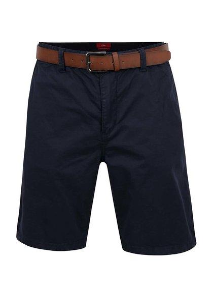 Pantaloni scurți albastru închis s.Oliver cu curea maro