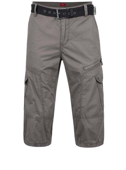 Pantaloni cargo gri deschis s.Oliver din bumbac cu curea neagră