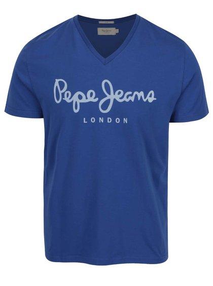 Modré pánské triko s véčkovým výstřihem Pepe Jeans Original