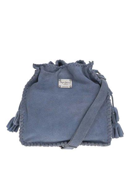 Modrá kožená kabelka v semišové úpravě Pepe Jeans Ali