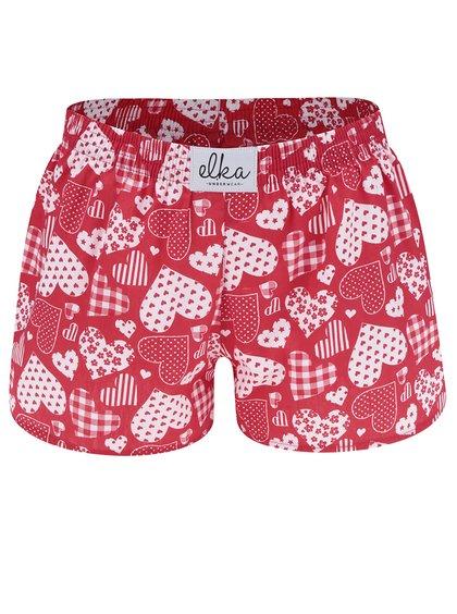 Červené dámské trenýrky s motivem srdcí El.Ka Underwear