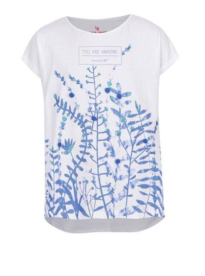 Bílé holčičí tričko s třpytivým potiskem a bambulkami  5.10.15.