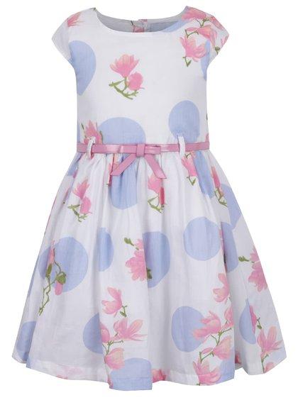 Krémové holčičí šaty s páskem a motivem květin a puntíků 5.10.15.