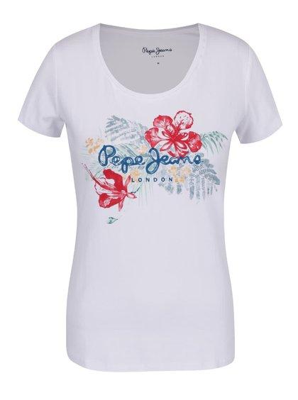 Bílé dámské tričko s tropickým potiskem Pepe Jeans Amber