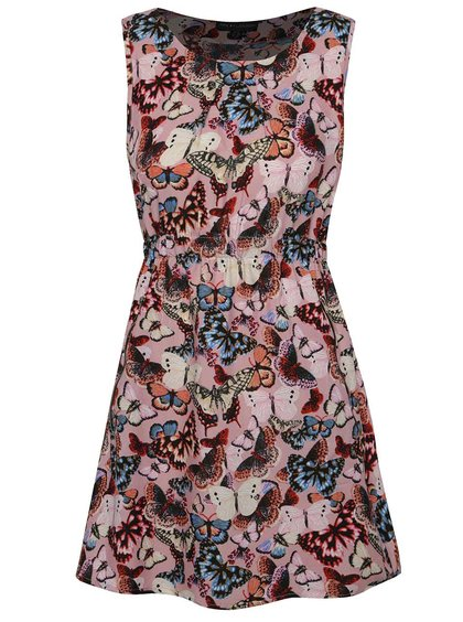 Rochie roz Mela London cu imprimeu floral