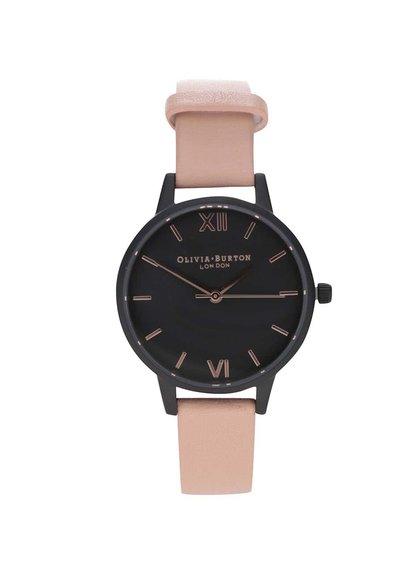 Černé hodinky s růžovým koženým páskem Olivia Burton