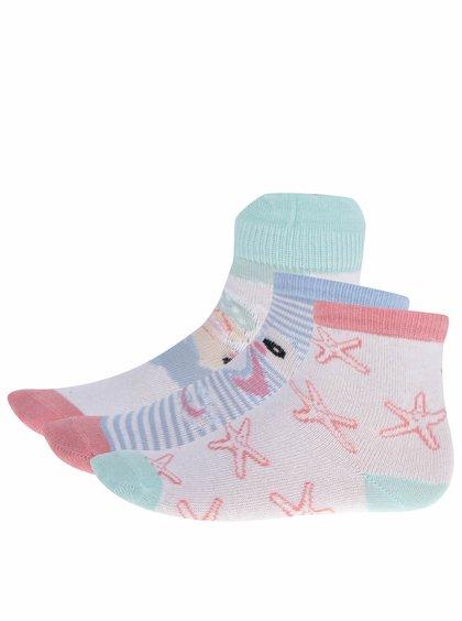 Sada tří párů holčičích ponožek v růžové a bílé barvě 5.10.15.