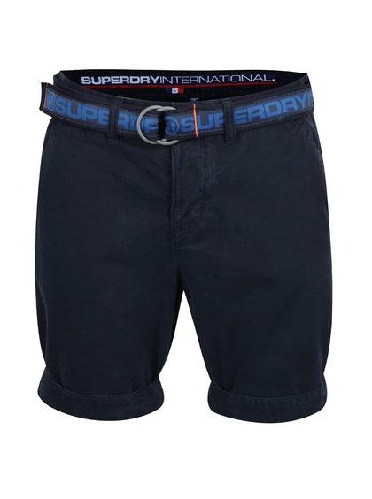 Tmavě modré pánské kraťasy s páskem Superdry