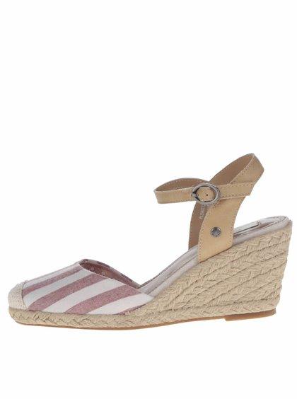 Krémovo-červené pruhované sandály na klínku Pepe Jeans Kinney