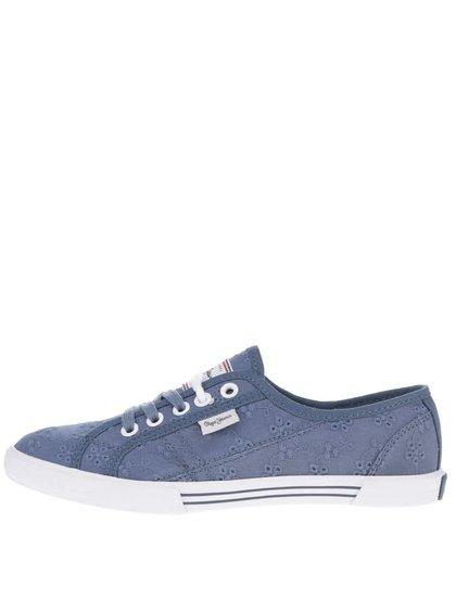 Tmavě modré dámské tenisky s výšivkou Pepe Jeans Aberlady Anglaise
