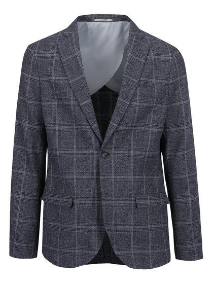 Modro-šedé kostkované lněné sako Selected Homme Done-Devon
