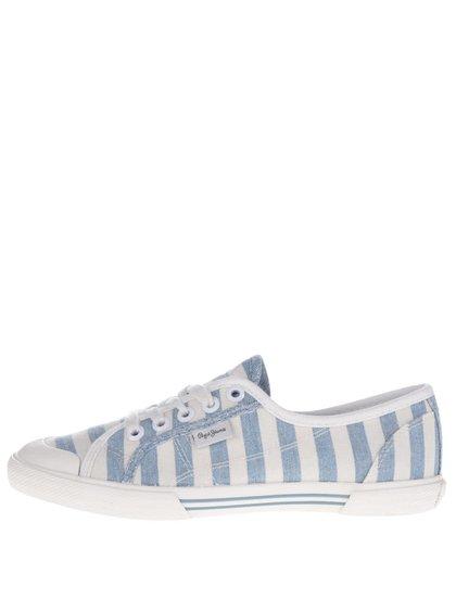 Krémovo-modré dámské pruhované tenisky Pepe Jeans Abernew