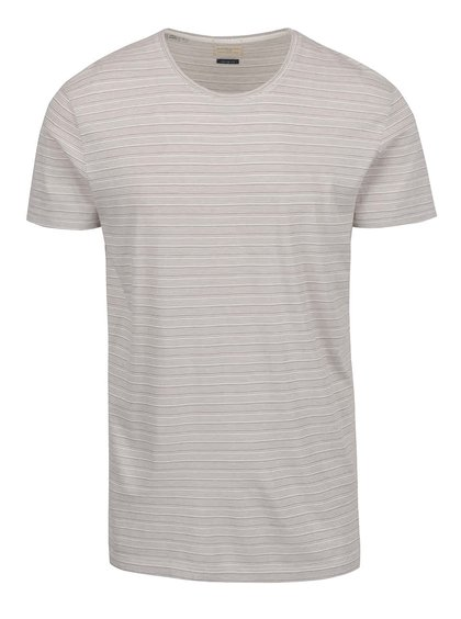 Tricou bej Selected Homme Brice cu model în dungi