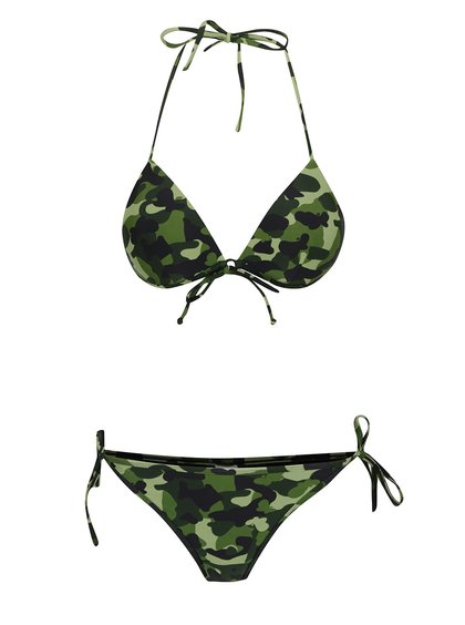 Černo-zelené maskáčové dvoudílné plavky Relleciga