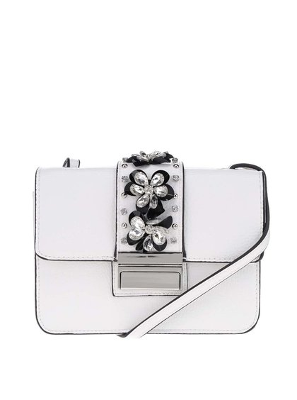 Biela crossbody kabelka s aplikáciou v striebornej farbe Miss Selfridge