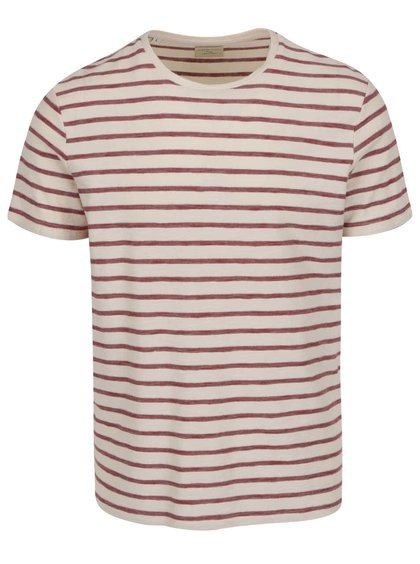 Krémovo-vínové pruhované triko s krátkým rukávem Selected Homme Kris