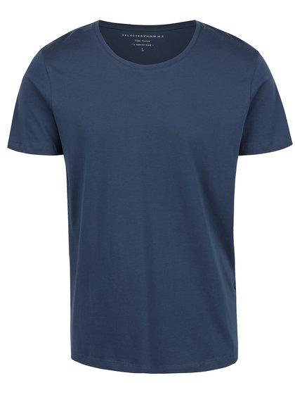 Modré triko s krátkým rukávem Selected Homme Pima