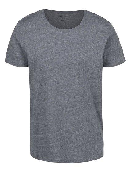 Šedé žíhané triko Selected Homme Pima