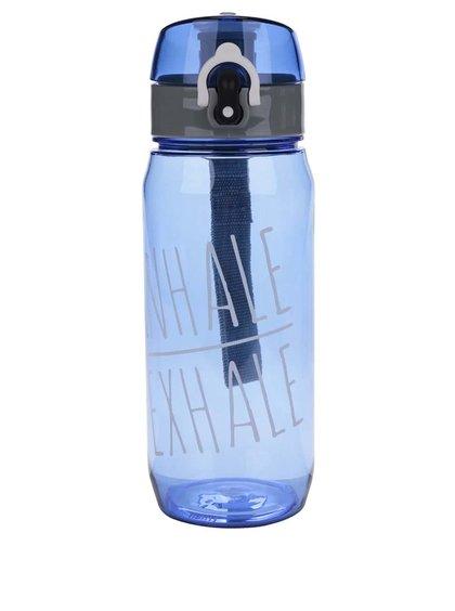 Modrá lahev na vodu s uzamykacím systémem Loooqs Inhale Exhale