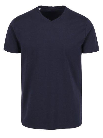Tmavě modré triko s véčkovým výstřihem Selected Homme Pima