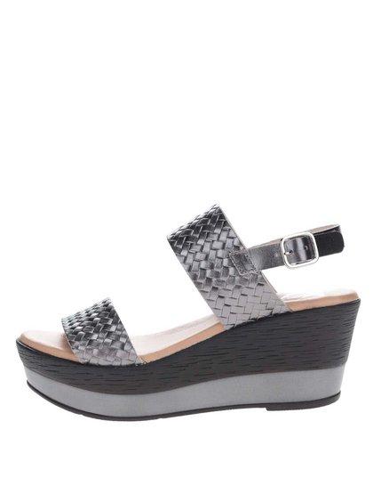 Sandale gri închis din piele cu platformă OJJU