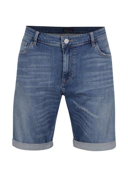 Pantaloni scurți albastru deschis Cross Jeans din denim cu aspect deteriorat și tiv îndoit
