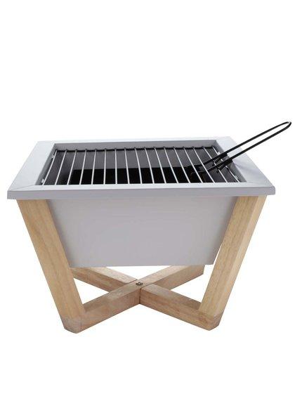 Grill portabil alb XD Design Nido cu suport din lemn