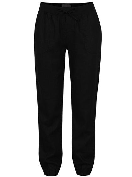 Černé lněné kalhoty na gumu VERO MODA Timilo