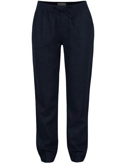 Tmavě modré lněné kalhoty VERO MODA Timilo