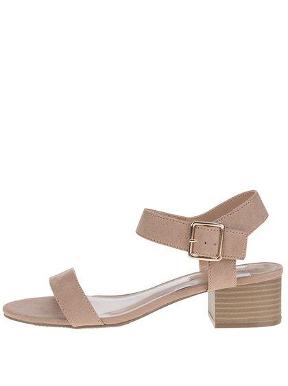 Sandale maro cu toc cu aspect de lemn