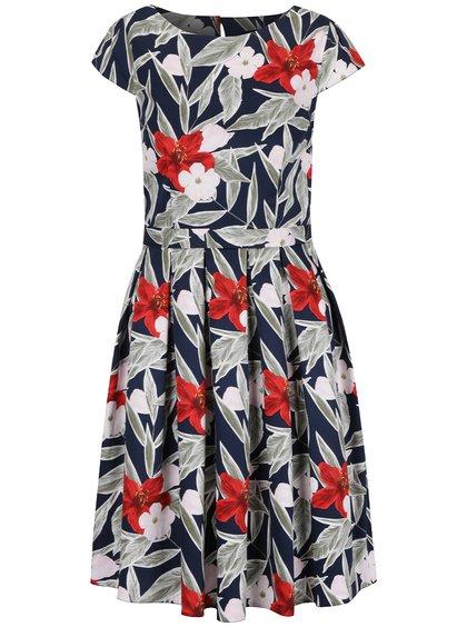 Tmavě modré květované šaty s průstřihem na zádech Dorothy Perkins