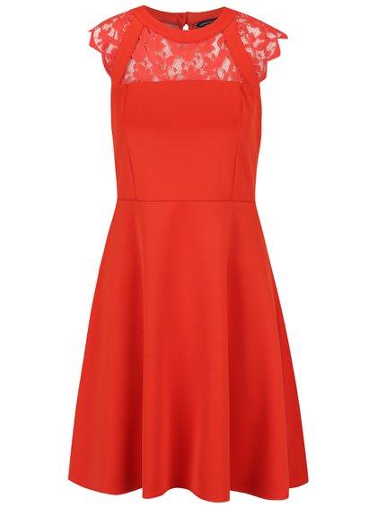 Červené šaty s krajkovým sedlem Dorothy Perkins