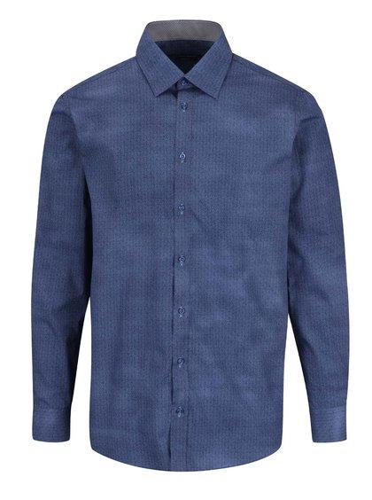 Tmavě modrá vzorovaná pánská slim fit košile STEVULA