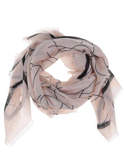 Světle růžový lehký dámský šátek se vzorem Calvin Klein Jeans