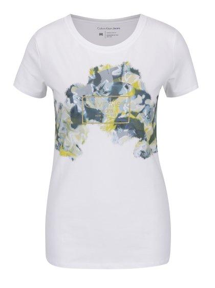 Bílé dámské tričko s květovaným potiskem Calvin Klein Jeans Tamar