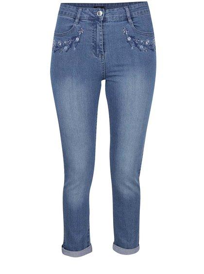 Modré džíny s květovanou výšivkou M&Co