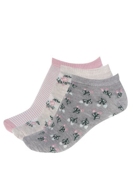 Sada tří párů dámských ponožek v šedé a růžové barvě M&Co