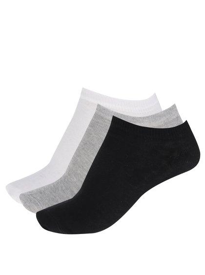 Sada tří párů dámských ponožek v černé, bílé a šedé barvě M&Co