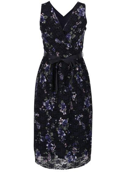 Tmavě modré plisované květované šaty M&Co